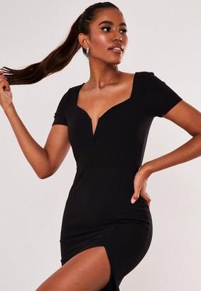 Missguided Black Sweetheart Neck Cap Sleeve Maxi Dress