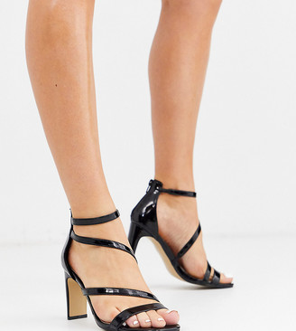 Simply Be extra wide fit Steph strappy heeled sandals in black