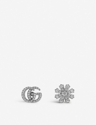 Gucci Flora 18ct white-gold and diamond earrings