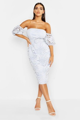 boohoo Lace Off The Shoulder Belted Midi Dress