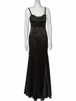 Just Cavalli Square Neckline Long Dress Black