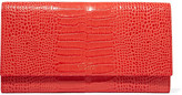 Smythson Mara Marshall Croc-effect Glossed-leather Wallet - Coral