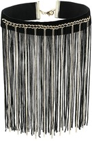 GUESS Dramatic Choker with Chain and Fabric Fringe Necklace Necklace