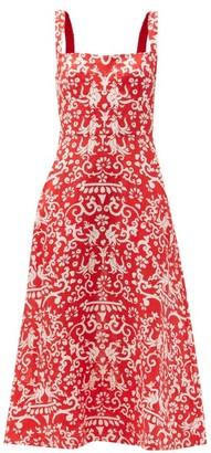 Saloni Rachel Chilli Phoenix-print Linen Midi Dress - Red White