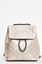 Missguided Quilted Faux Leather Backpack - Metallic