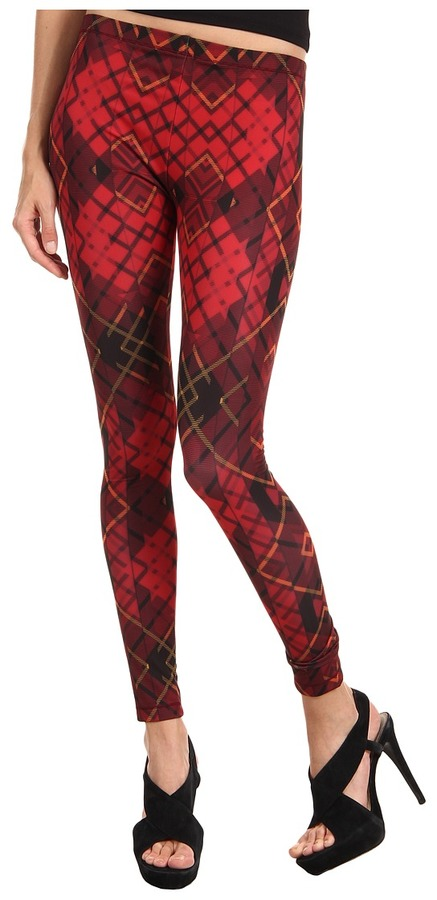 McQ Tartan Print Legging (Oxblood/Black) - Apparel