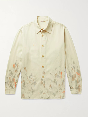 AURALEE Paint-Splattered Wool-Gabardine Shirt