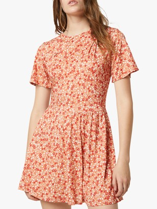 French Connection Zina Floral Jersey Drape Mini Dress, Pumpkin/Multi