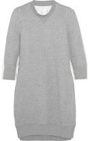 Sacai Poplin-paneled Cotton-blend Jersey Mini Dress - Light gray