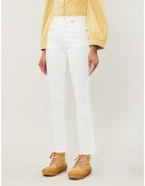 A Gold E Pinch Waist flared high-rise jeans
