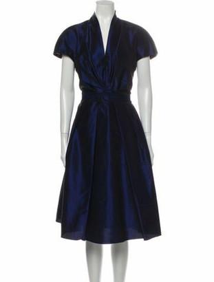 Reem Acra V-Neck Midi Length Dress Blue