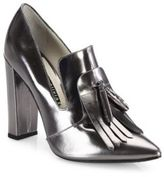 Alice + Olivia Cade Kilted Metallic Leather Point-Toe Pumps