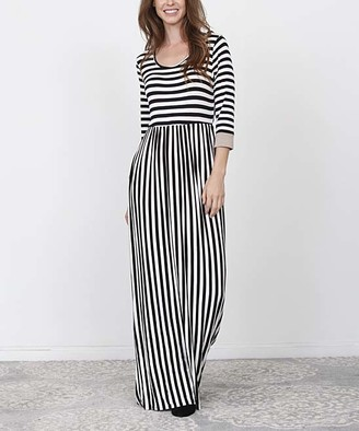 Egs By Eloges egs by eloges Women's Casual Dresses BLACK - Black & White Stripe Cuffed-Sleeve Maxi Dress - Women