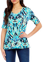Westbound V-neck Ribbed Elbow Sleeve Printed Top