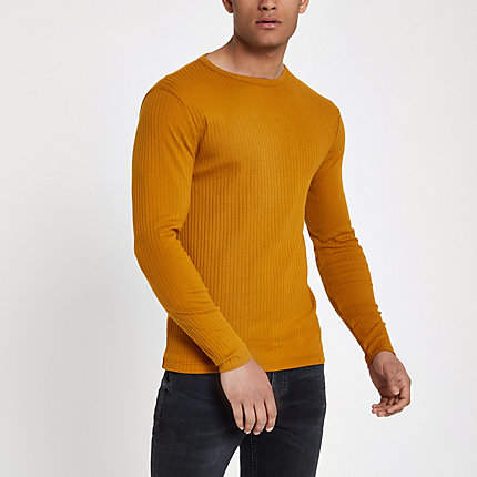 River Island Mens Dark Yellow ribbed slim fit T-shirt