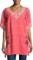 Johnny Was Selena Embroidered Linen Poncho Top