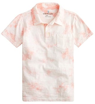 crewcuts by J.Crew Short Sleeve Tie-Dye Polo Shirt (Toddler/Little Kids/Big Kids) (Pink/White) Boy's Clothing