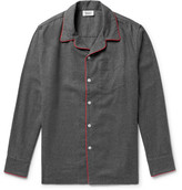Sleepy Jones - Henry Piped Cotton-flannel Pyjama Shirt - Gray
