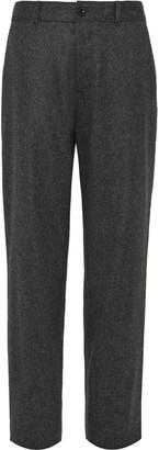 Wide-Leg Grey Wool-Flannel Trousers