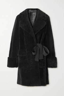 Prada Grosgrain-trimmed Shearling Coat - Black
