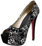 Katypeny Women's Printed Ankle Bowknot Ties Plus Size Slip On Peep Toe Stiletto High Heel Platform Pump Shoes Suede Leather 6 US M