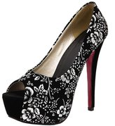 Katypeny Women's Printed Ankle Bowknot Ties Plus Size Slip On Peep Toe Stiletto High Heel Platform Pump Shoes Suede Leather 8 US M