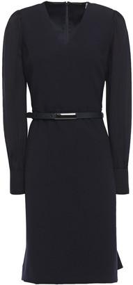 Elie Tahari Hale Belted Crepe-paneled Cady Mini Dress
