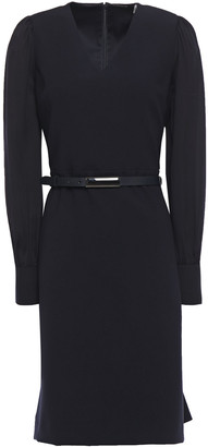 Elie Tahari Hale Belted Crepe-paneled Twill Mini Dress