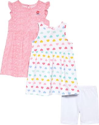 Little Me Heart Knit Dresses & Shorts Set