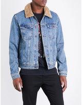 Topman Topman Titan Borg Faux-shearling And Denim Jacket