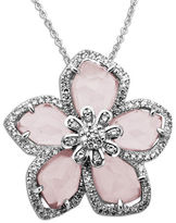 Lord & Taylor Rose Quartz and Diamond-Accented Necklace in Sterling Silver