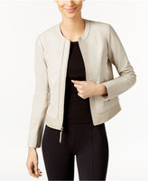 Via Spiga Leather Colorblock Moto Jacket