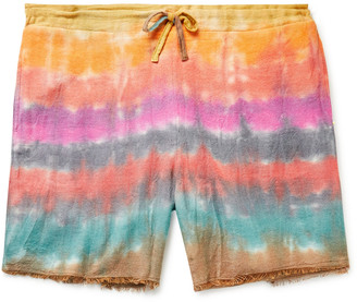 The Elder Statesman Wacky Boomslang Tie-Dyed Wool, Cashmere And Cotton-Blend Drawstring Shorts