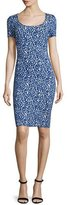 St. John Paisley Knit Square-Neck Sheath Dress, Bianco/Indigo Multi
