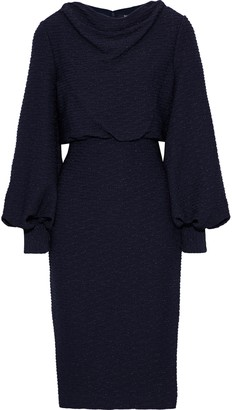 Badgley Mischka Draped Metallic Ribbed Jersey Dress