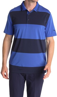 Puma Blue Striped Rugby Golf Polo