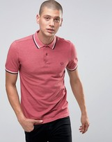 Fred Perry Polo Shirt With Tipping In Strawberry