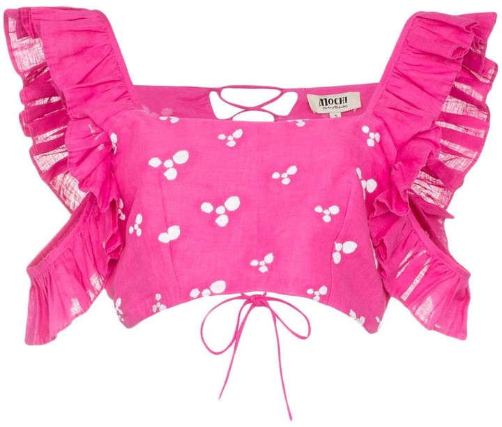 All Things Mochi Coney printed ruffle crop top