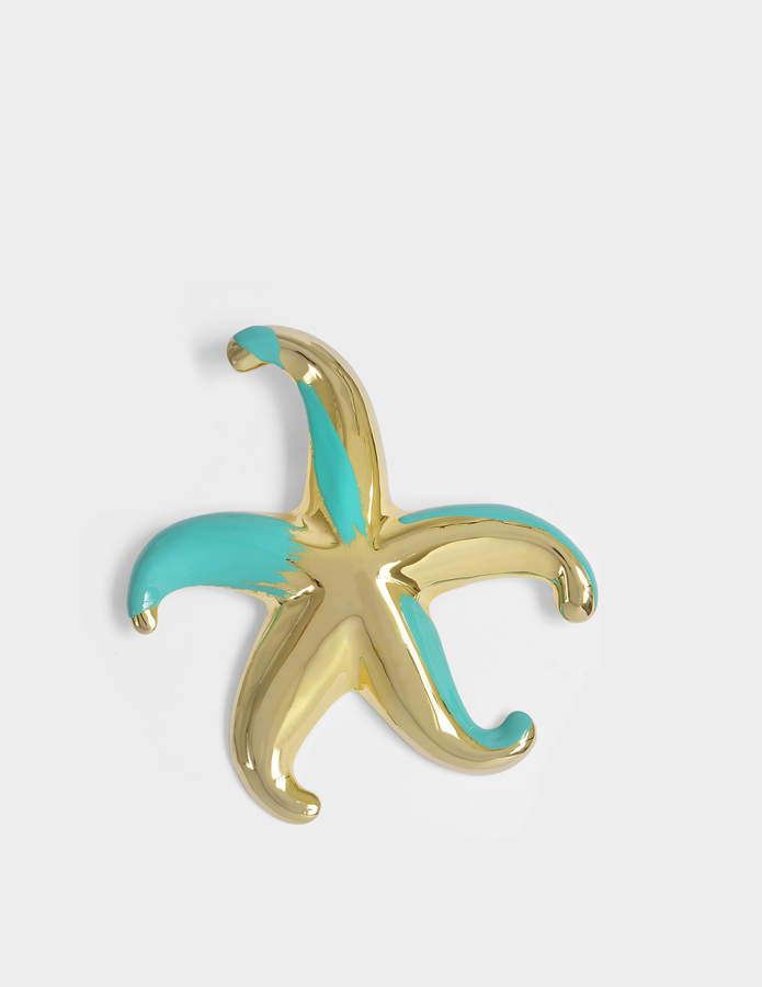 Giorgio Armani Star Brooch in Gold and Turquoise Metal