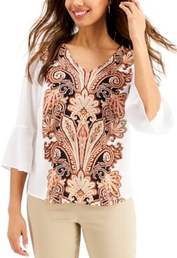 JM Collection Printed Ruffle-Sleeve Top, Created for Macy's