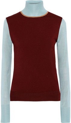 Roksanda Elsta Color-block Stretch-knit Turtleneck Sweater