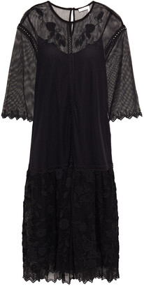 See by Chloe Crochet-trimmed Embroidered Cotton-blend Tulle Midi Dress