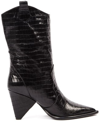 Aldo Castagna Black Cocodrile Effect Leather Boots