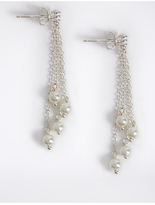 M&S Collection Sterling Silver Pearl Chain Drop Earrings
