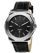 Perry Ellis Unisex Decagon Black Leather Watch