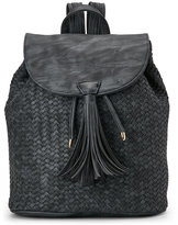 Deux Lux Black Madison Distressed Woven Backpack