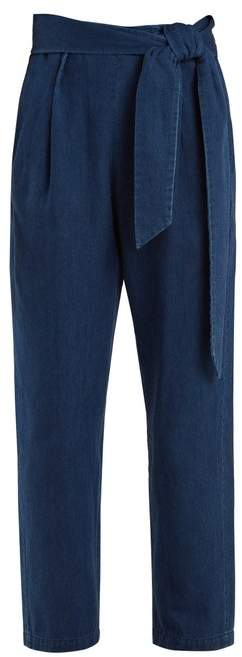 Masscob High-rise straight-leg belted denim trousers