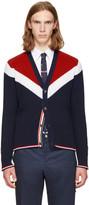 Thom Browne Tricolor Saddle Sleeve V-neck Cardigan