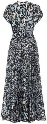 Alaia Floral silk midi dress