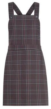 Dorothy Perkins Womens Brown Check Print Pinafore Dress, Brown